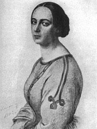 Luise von Gall, Zeichnung von Schramm, 1842