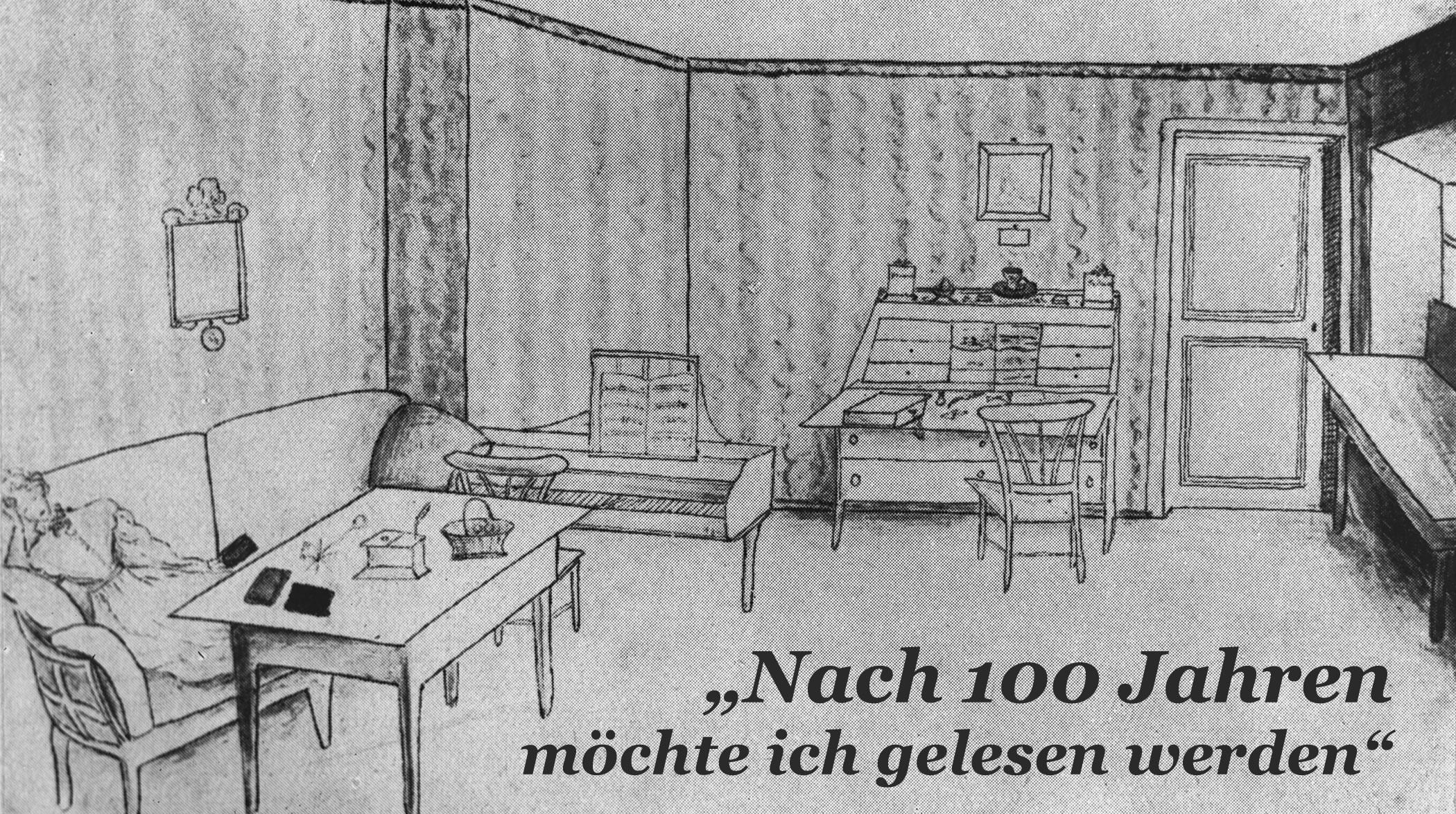 Zeichnung: Annette von Droste in ihrem Zimmer im Rüschhaus